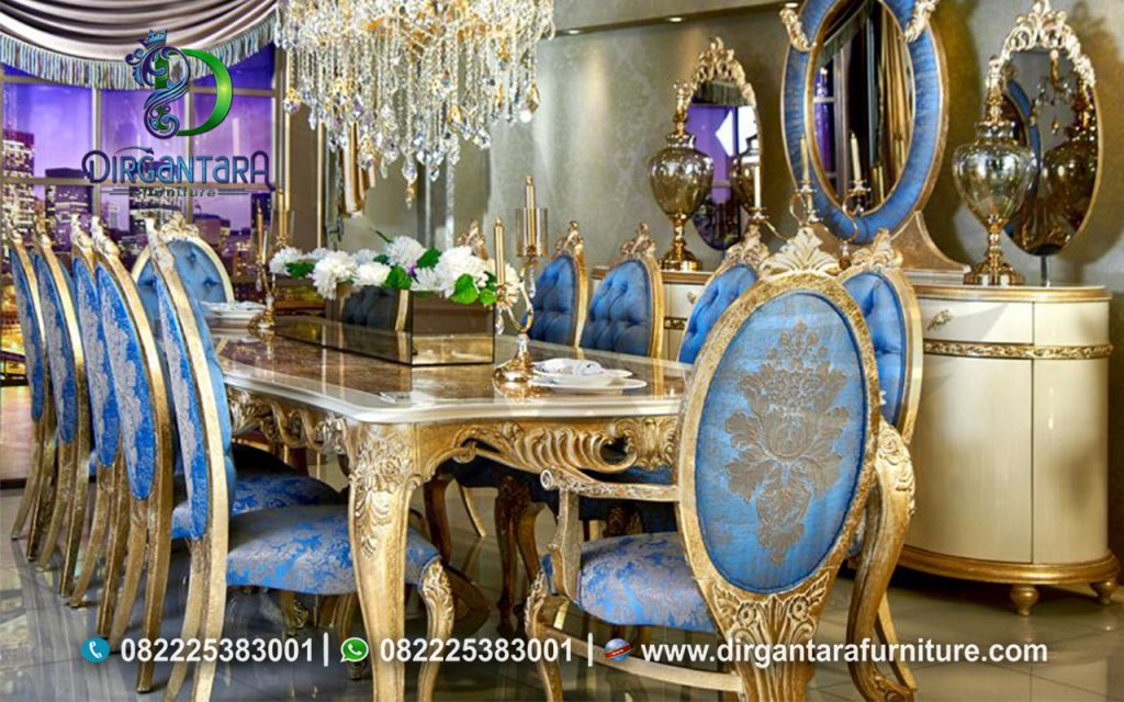 Meja Makan Gold Leaf Kombinasi Biru Laut MM-01, Dirgantara Furniture