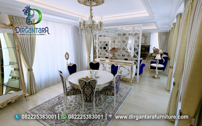 Meja Makan Klasik Bulat 4 Kursi Putih MM-04, Dirgantara Furniture