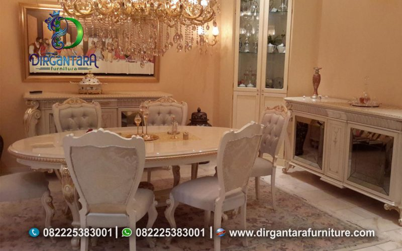 Meja Makan Bundar 10 Kursi Putih Murah MM-09, Dirgantara Furniture