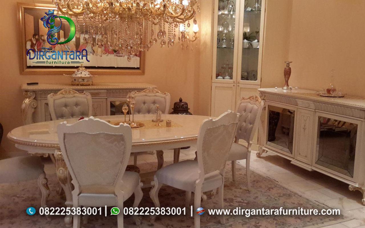 Meja Makan Bundar 10 Kursi Putih Murah MM-09, Dirgantara Furniture
