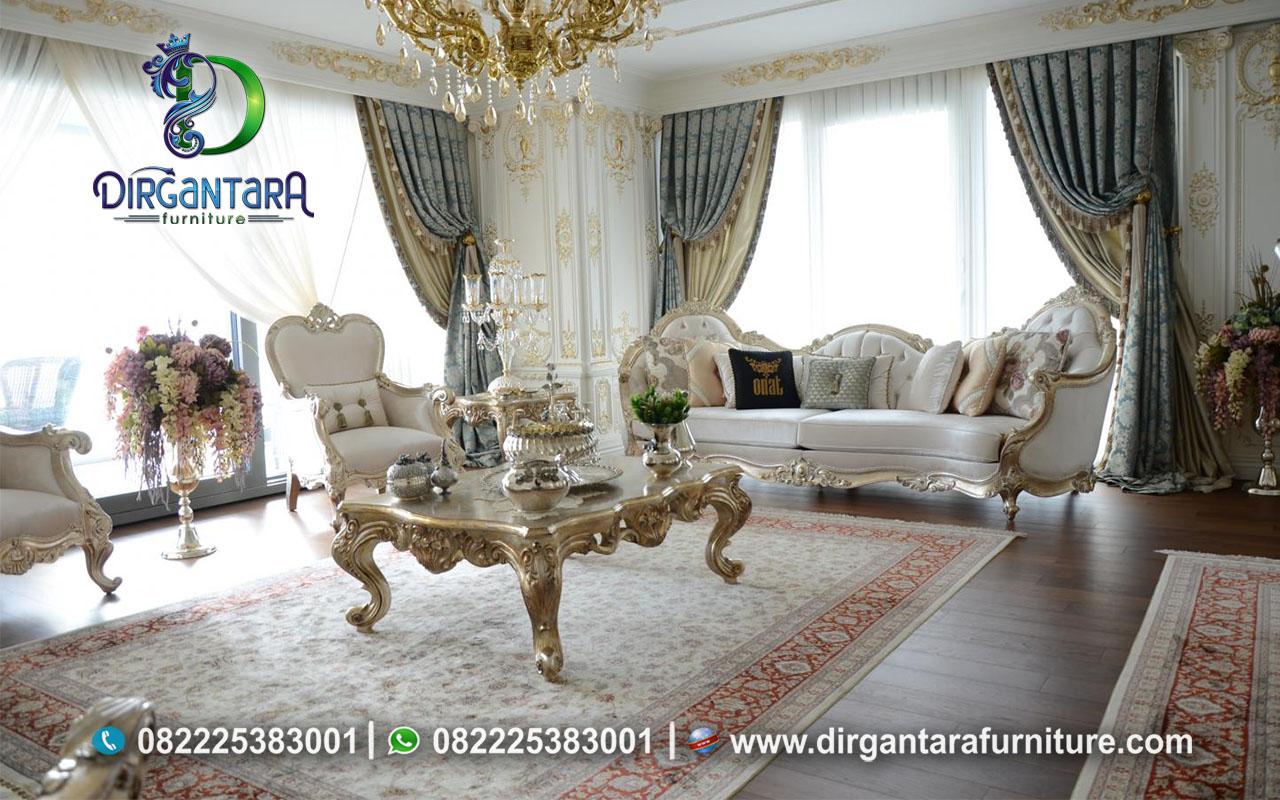 Set Sofa Tamu Gold Prada Bludru Putih Mewah ST-05, Dirgantara Furniture