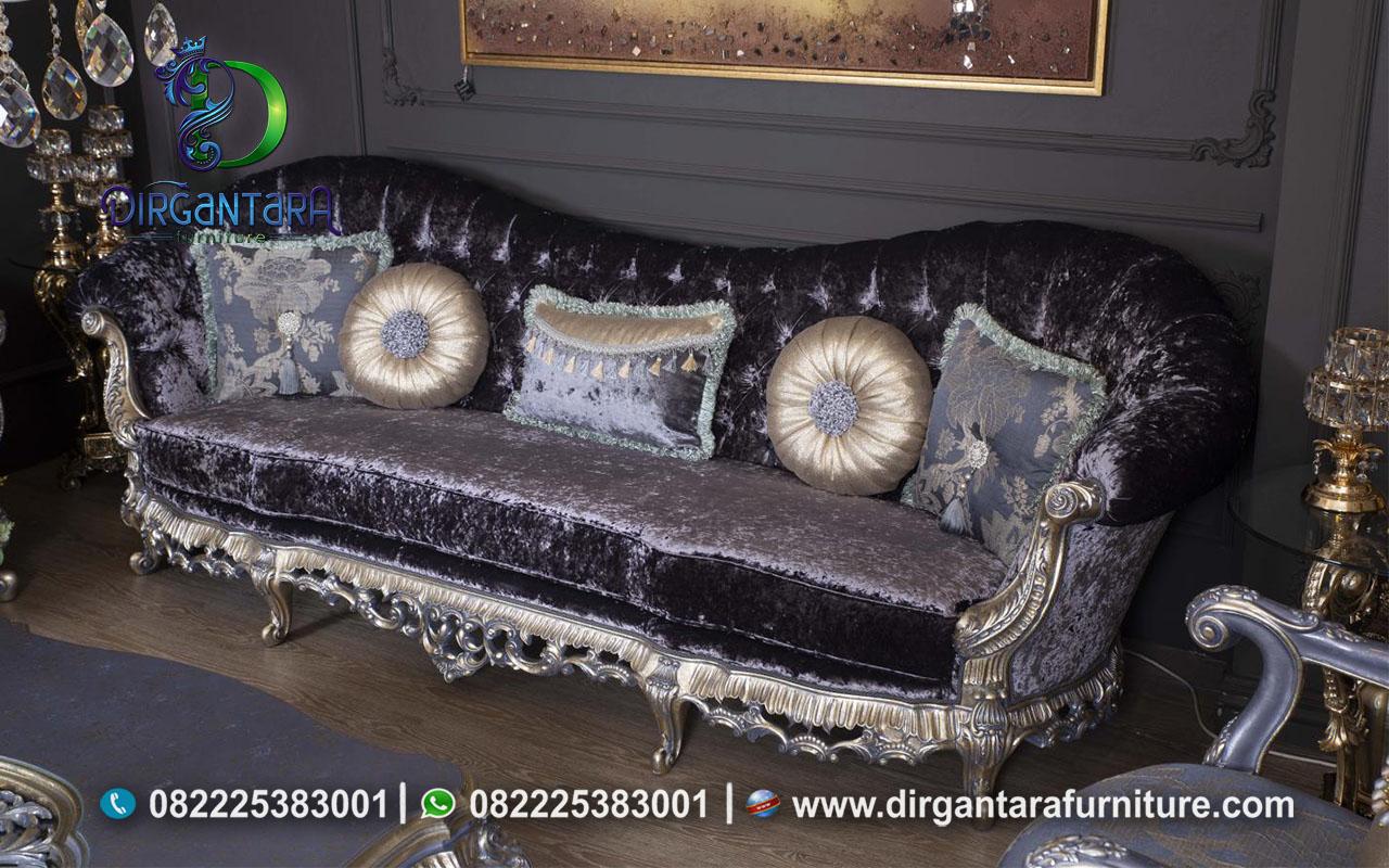 Sofa Set Klasik Mewah Abu Terbaik ST-14, Dirgantara Furniture