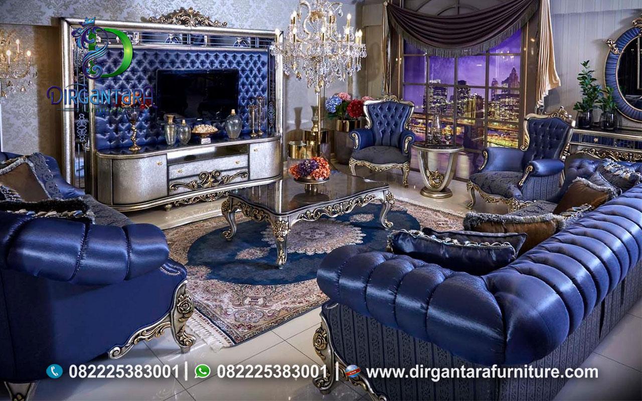 Sofa Chesterfield Ukir Biru Tua Termewah ST-15, Dirgantara Furniture