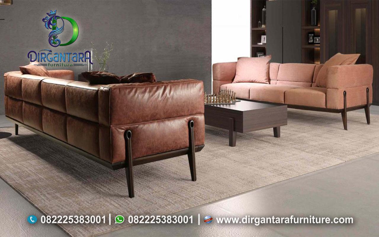Set Sofa Minimalis Kain Oscar Coklat ST-18, Dirgantara Furniture