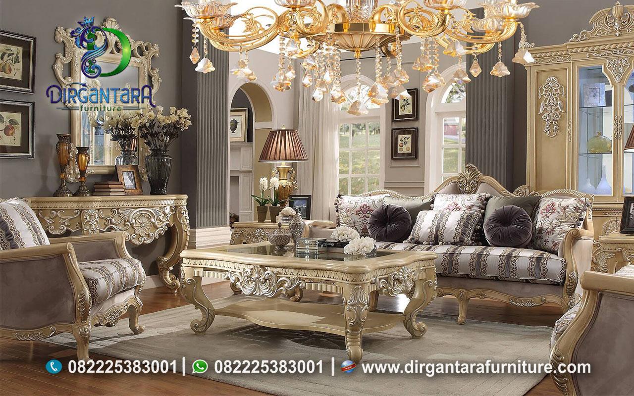 Sofa Tamu Ukir Jepara Cream Colour Mewah ST-22, Dirgantara Furniture
