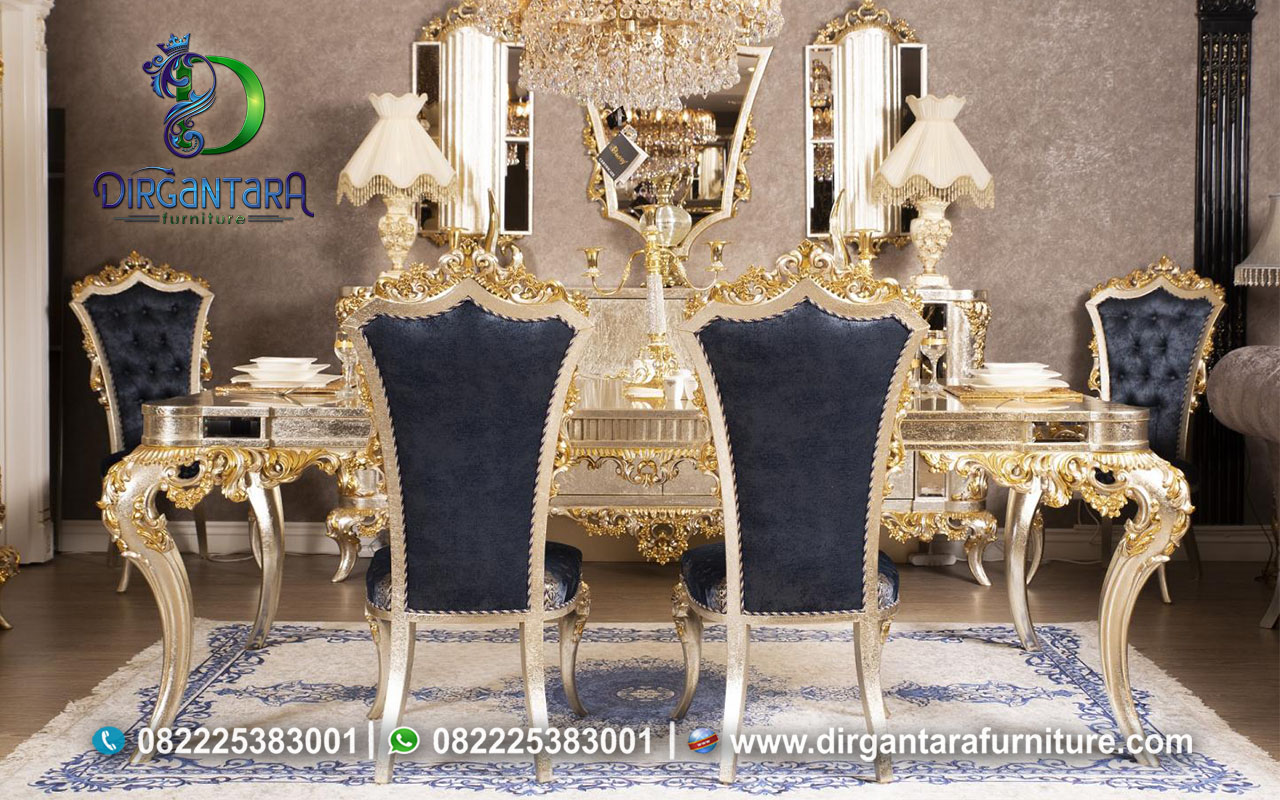 Meja Makan Gold Glamour Ukir Jepara MM-13, Dirgantara Furniture