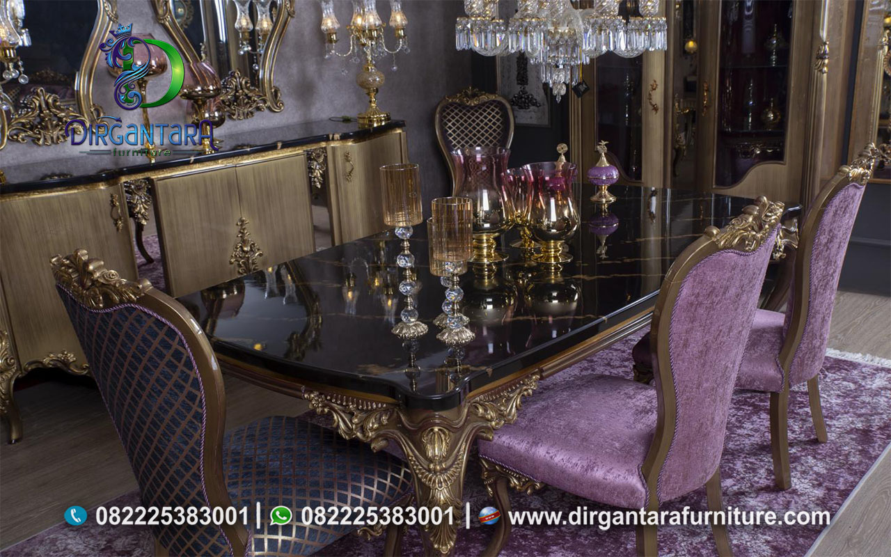 Meja Makan Gold Top Granit Kursi Pink MM-16, Dirgantara Furniture