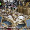 Meja Makan Gold Leaf Top Marmer Finishing MM-23, Dirgantara Furniture