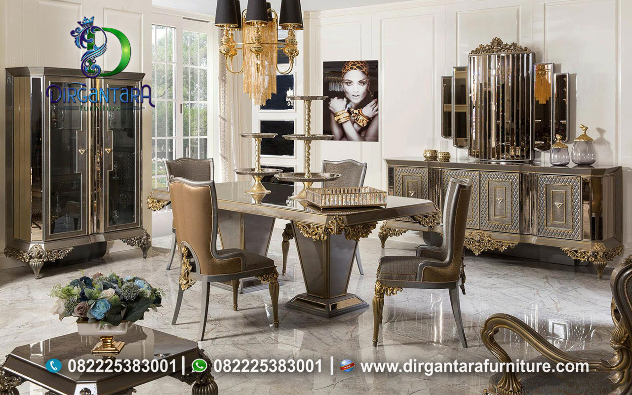 New Design Meja Makan Luxury Coklat MM-24, Dirgantara Furniture