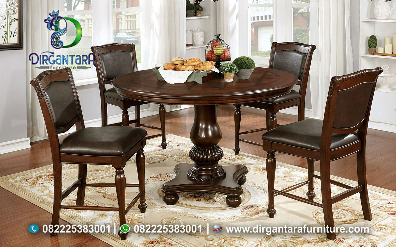 Meja Makan Bulat 4 Kursi Salak Brown MM-31, Dirgantara Furniture