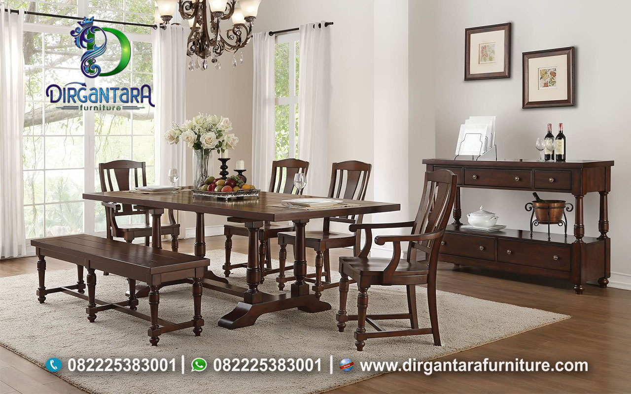 Set Meja Makan Kayu Jati Antikan MM-36, Dirgantara Furniture
