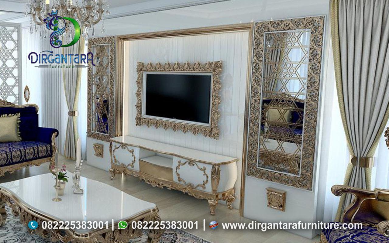 Jual Backdrop TV Ukir Jepara White Gold BTV-01, Dirgantara Furniture