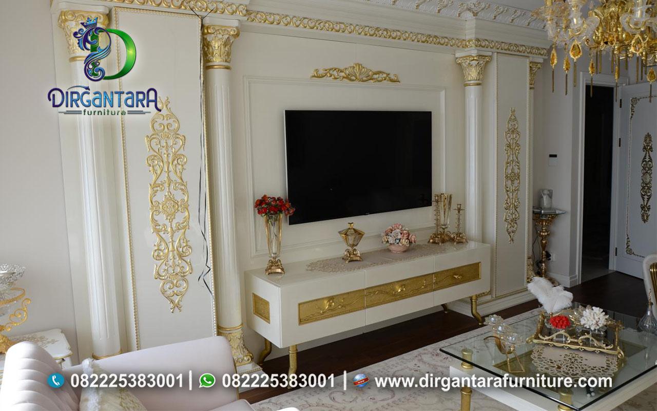 Desain Backdrop TV Full Dinding Duco Putih BTV-04, Dirgantara Furniture