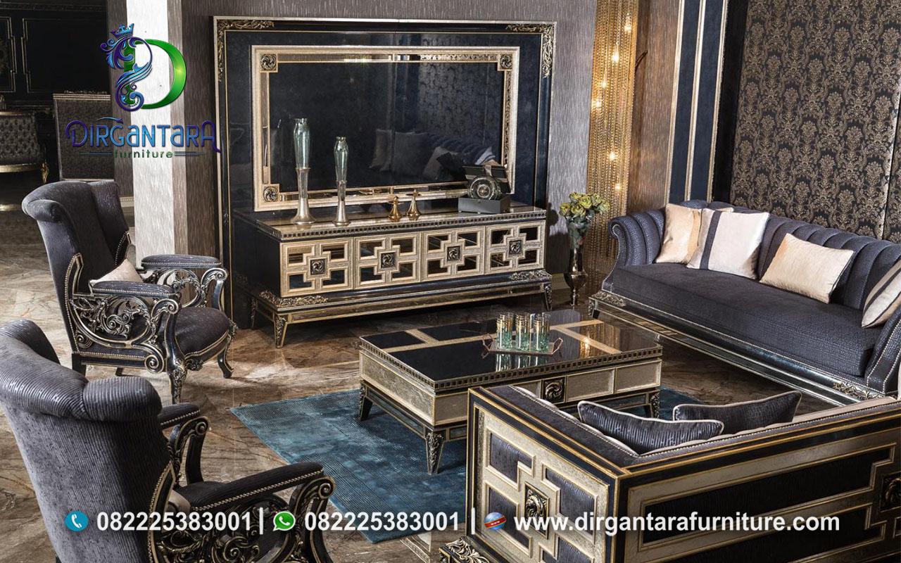 Backdrop TV Untuk Ruang Keluarga Hitam Emas BTV-07, Dirgantara Furniture