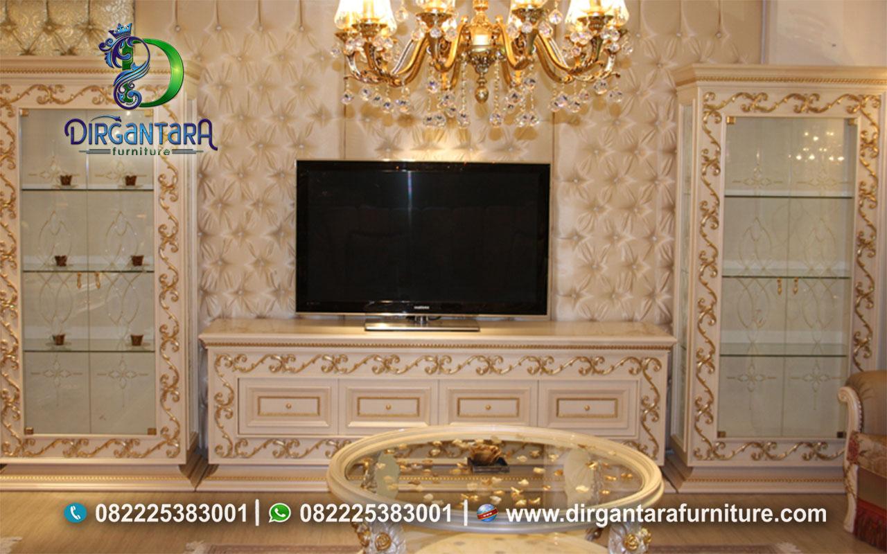 New Style Backdrop TV Luxury Cream Gold BTV-106, Dirgantara Furniture