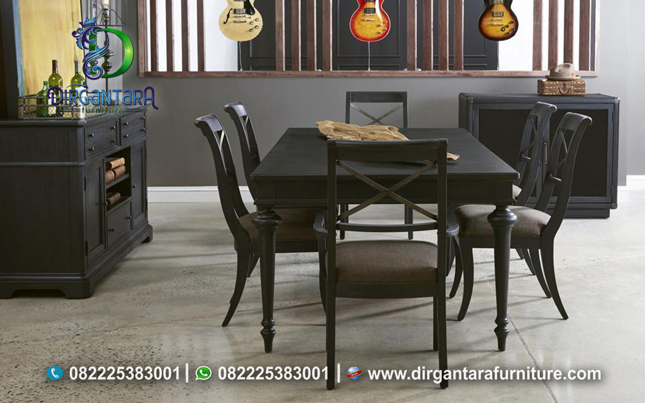 Inspirasi Model Meja Makan Simple Tema Gelap MM-51, Dirgantara Furniture