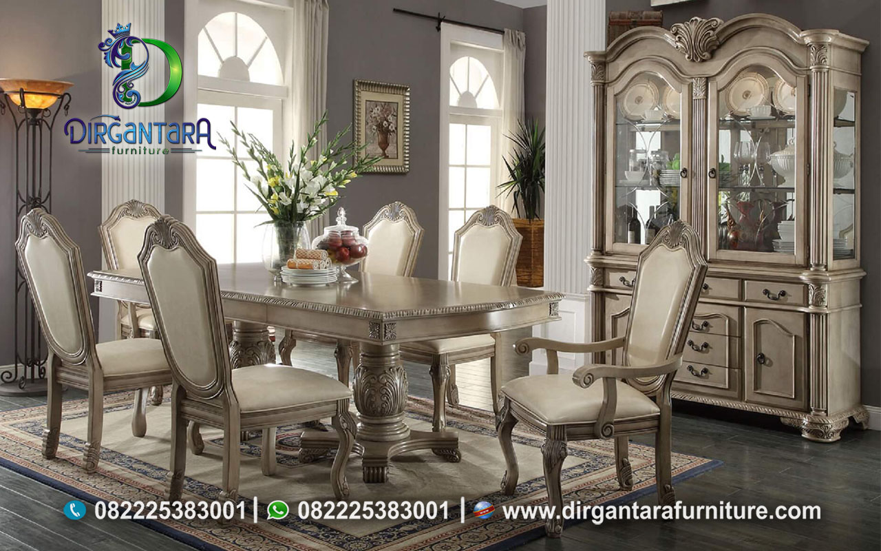 Desain Ruang Makan Semi Klasik Cream MM-50, Dirgantara Furniture